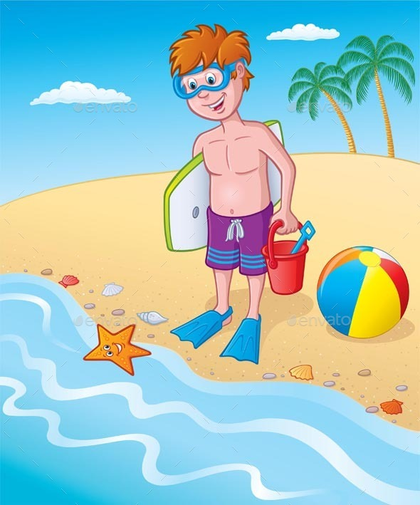 Kid Standing By The Seashore - Sports/Activity Conceptual