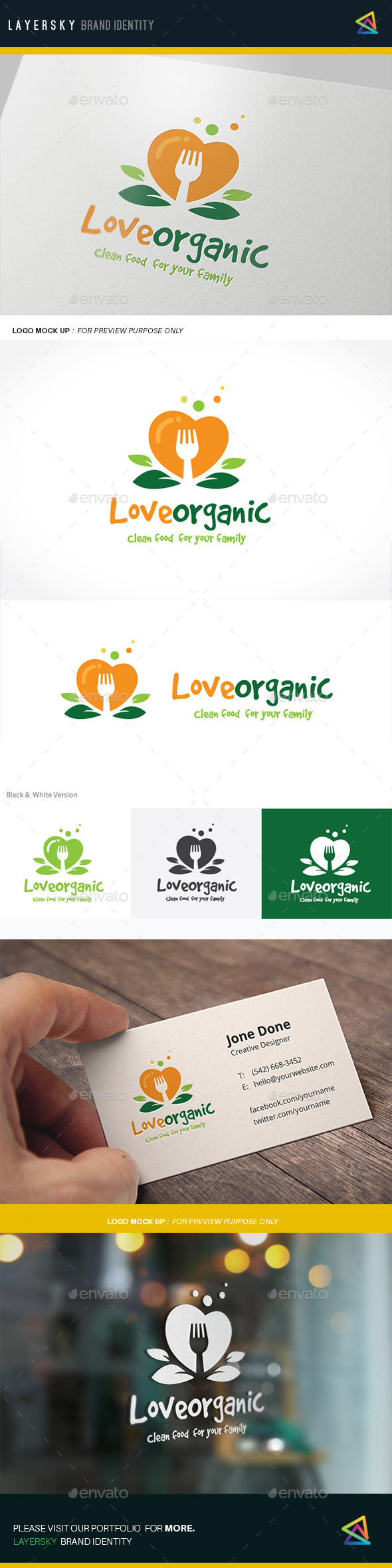 Love Organic - Food Logo Templates