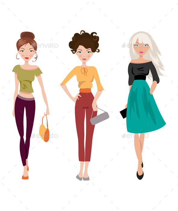Fashionable Girl - People Characters