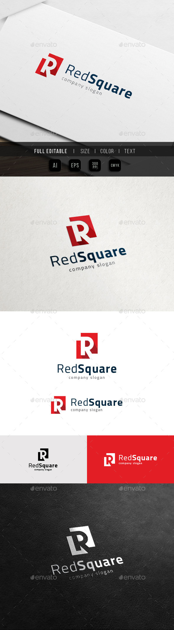 R Logo - Red Square - Real Estate - Letters Logo Templates