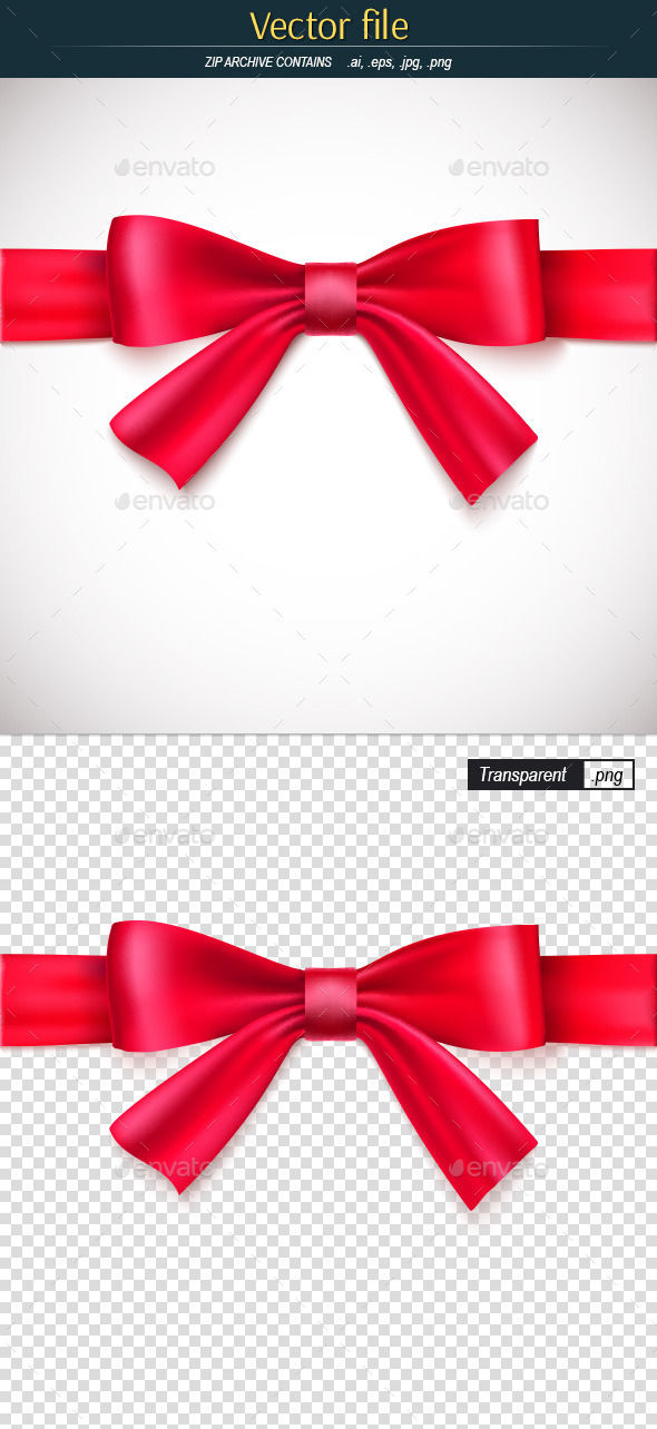 Red Ribbon with Bow - Decorative Symbols Decorative