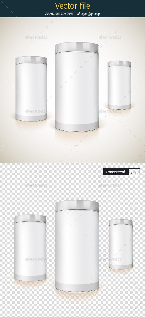 Round Packaging Template for Product Design - Objects Vectors