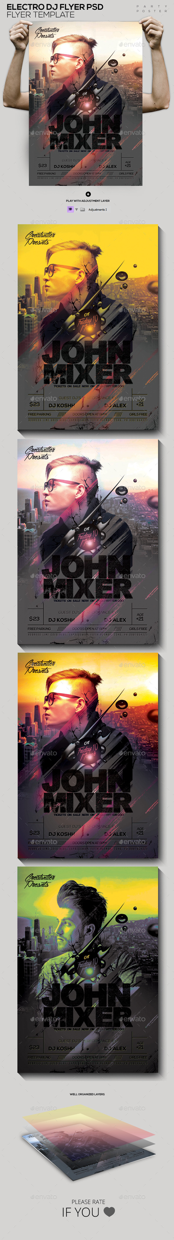Electro Guest DJ Flyer PSD - Clubs & Parties Events