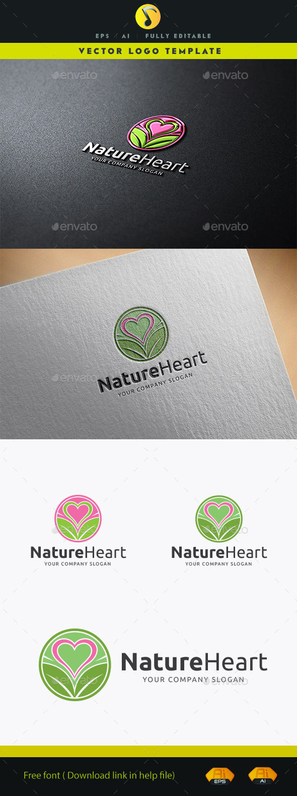 Nature Heart - Nature Logo Templates
