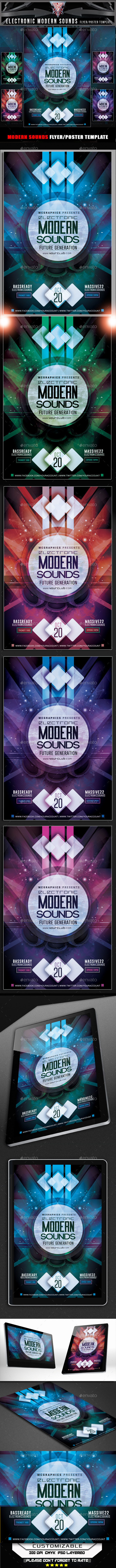 Electronic Modern Sounds Flyer Template - Events Flyers