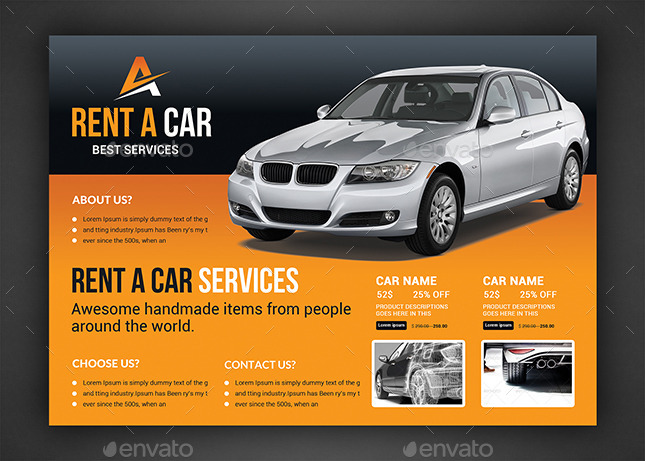 rent a car flyer template by afjamaal graphicriver