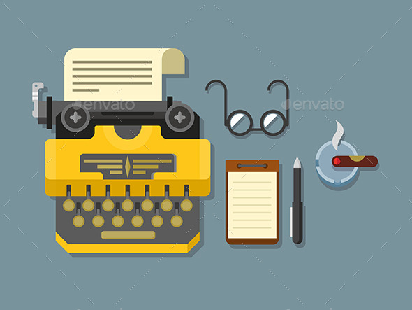 Typewriter With Sheet Of Paper, Glasses, Notepad - Objects Vectors