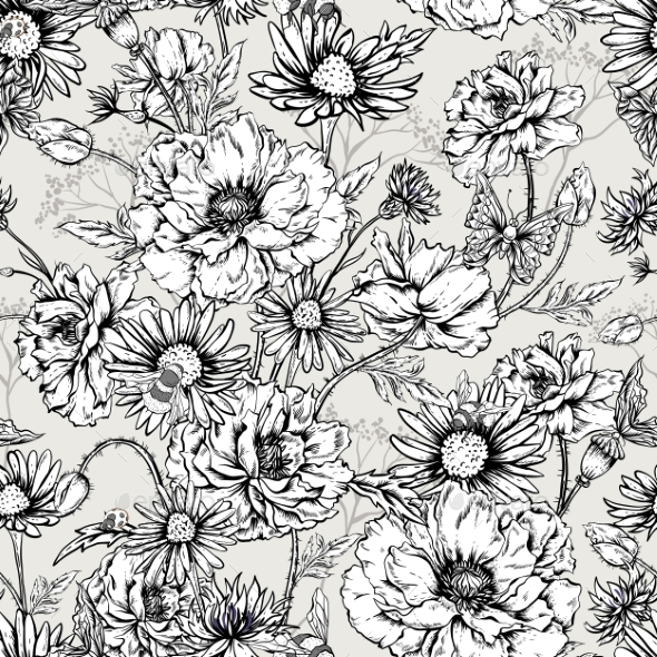Monochrome Floral Seamless Pattern With Blooming - Patterns Decorative