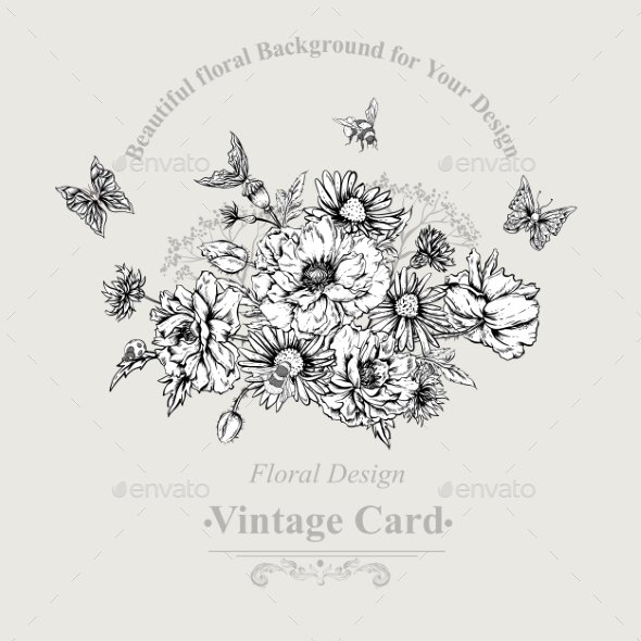 Summer Monochrome Vintage Greeting Card - Patterns Decorative