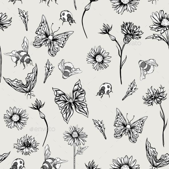 Summer Monochrome Vintage Floral Seamless Pattern - Patterns Decorative