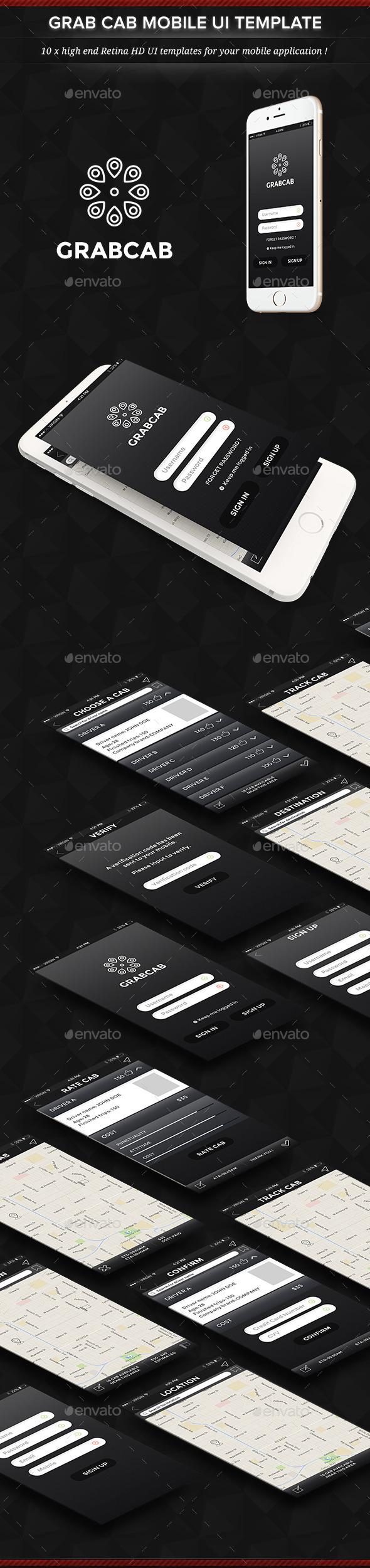 Grab Cab Mobile App User Interface Set - User Interfaces Web Elements