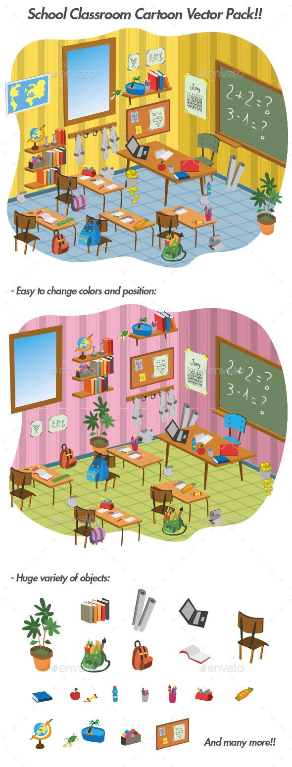 School Classroom Cartoon Vector Pack - Vectors
