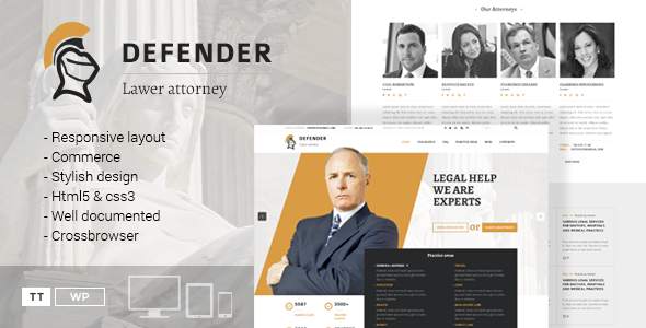 Defender – Attorney & Lawyer WordPress Theme - Business Corporate