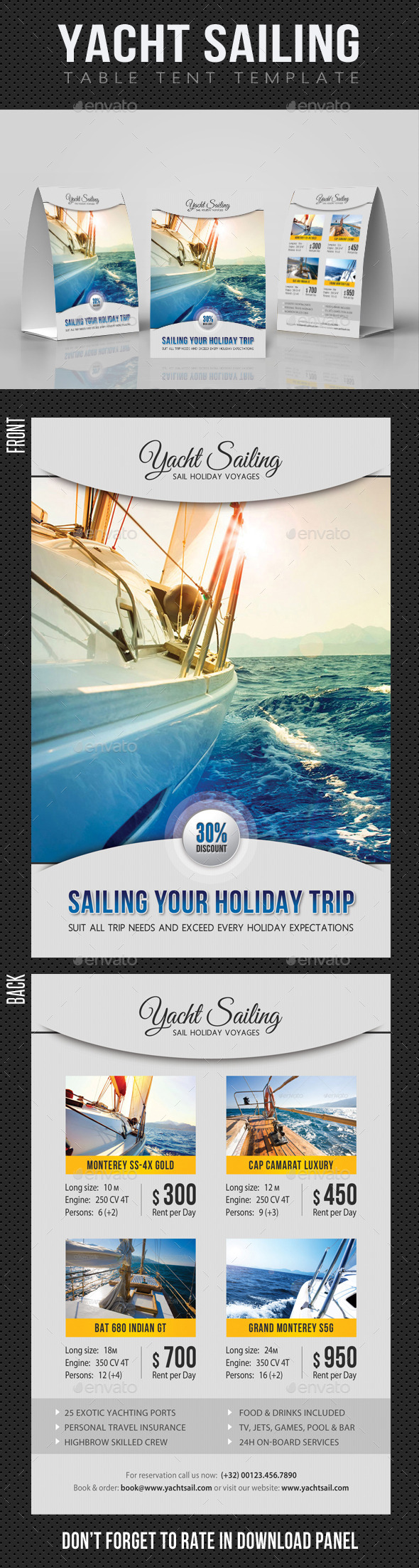 Sailing Yacht Travel Table Tent V01 - Miscellaneous Print Templates