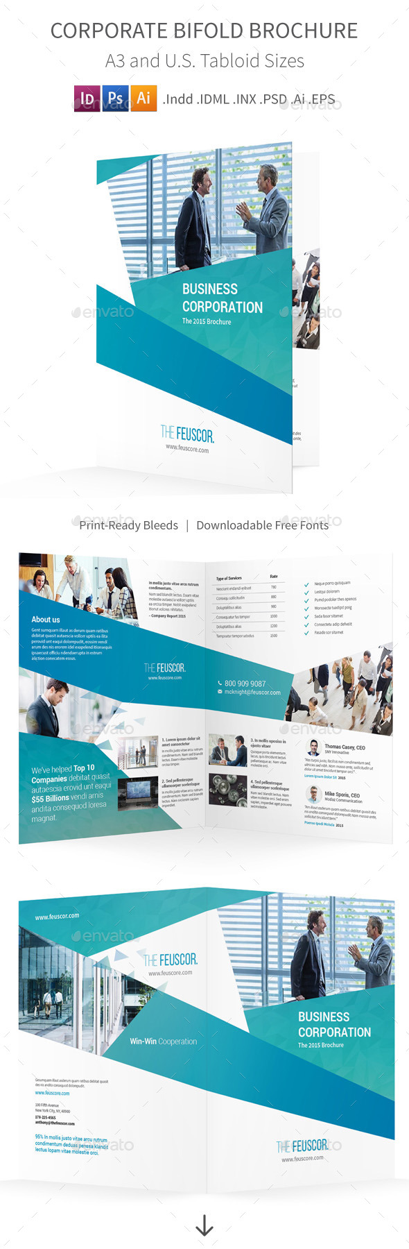 Corporate Company Bifold / Halffold Brochure - Corporate Brochures