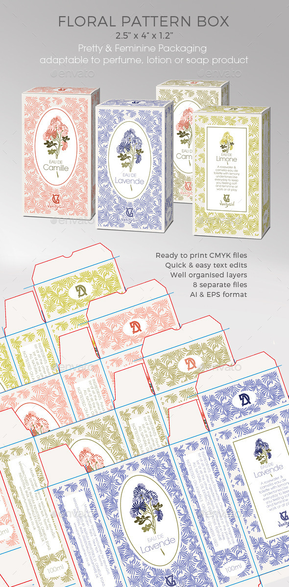 Perfume/Soap/Cosmetic Box - Floral Pattern - Packaging Print Templates