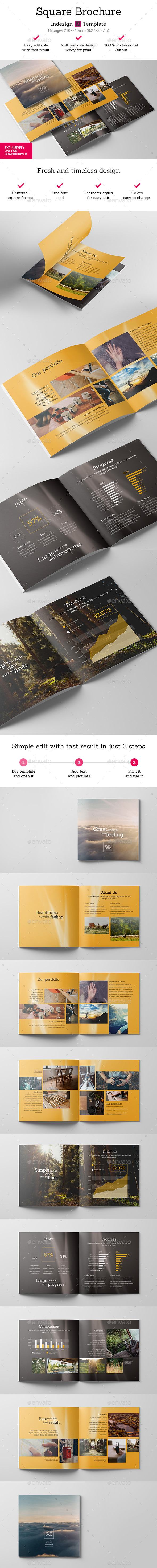 Square Brochure Indesign Template  - Brochures Print Templates