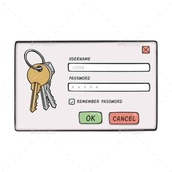 Cartoon Password Dialog - Miscellaneous Vectors