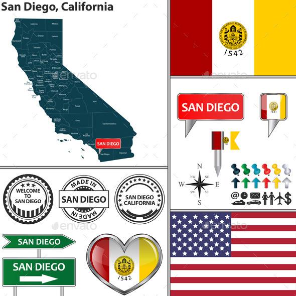 San Diego, California - Travel Conceptual