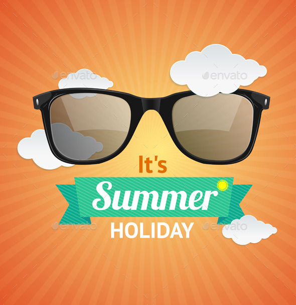 Sunglasses Summer Card Background - Travel Conceptual