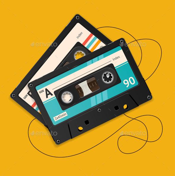 Broken Vintage Audio Tape - Retro Technology