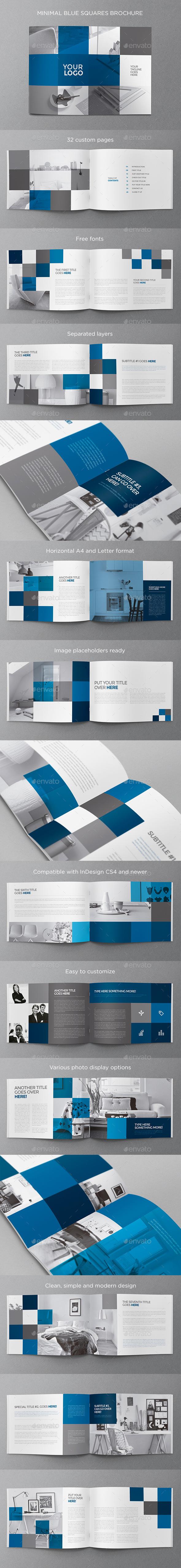 Minimal Blue Squares Brochure - Brochures Print Templates