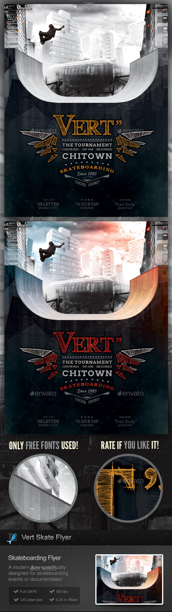 Vert Skate - Skateboarding Flyer Template - Sports Events