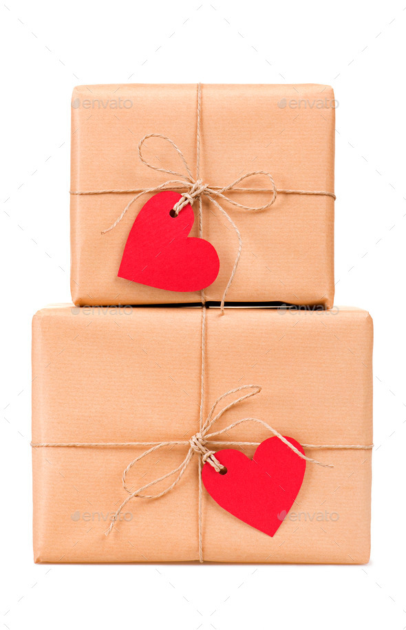 Gift boxes heart-shaped labels - Stock Photo - Images