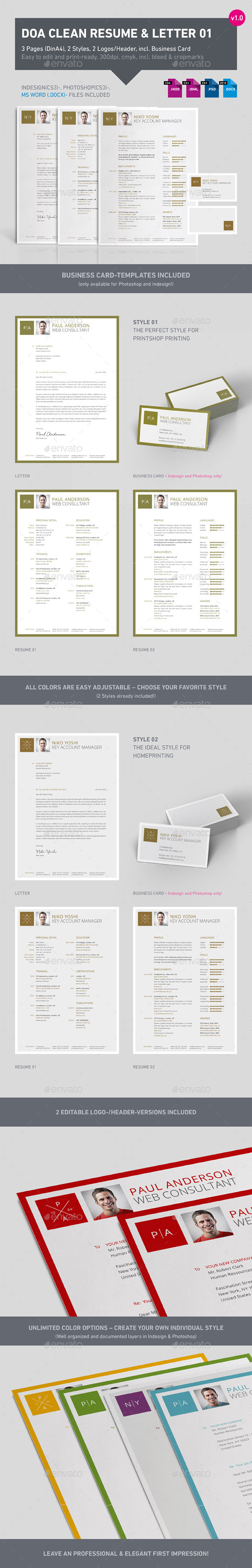 Clean 3-Part Resume 01 - Resumes Stationery