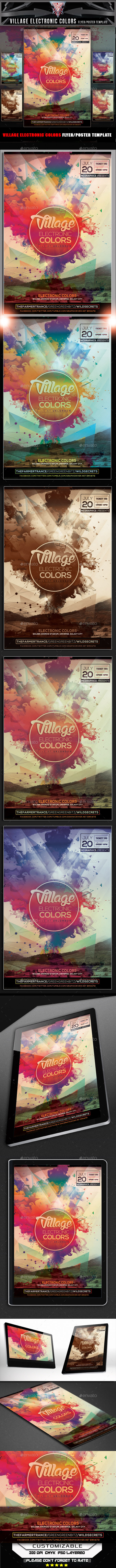 Village Electronic Colors Flyer Template - Flyers Print Templates