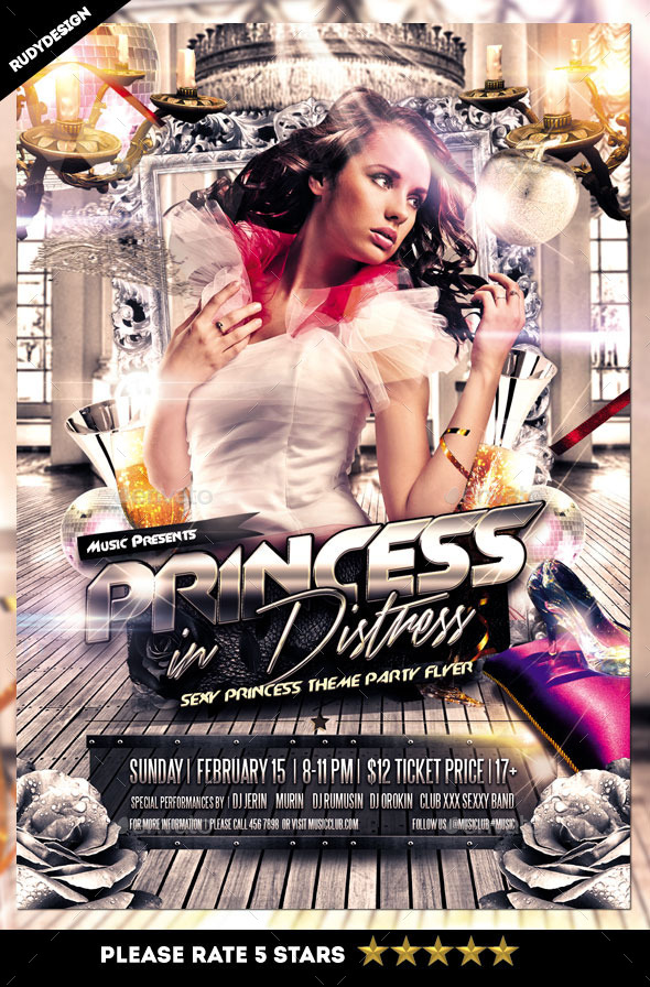 Princess in Distress Party Flyer - Clubs & Parties Events