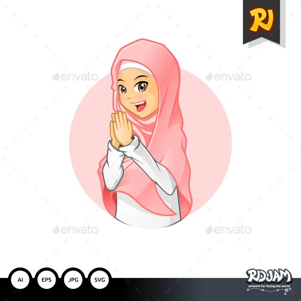 Muslim Girl with Welcoming Arms Wearing Pink Veil - People Characters