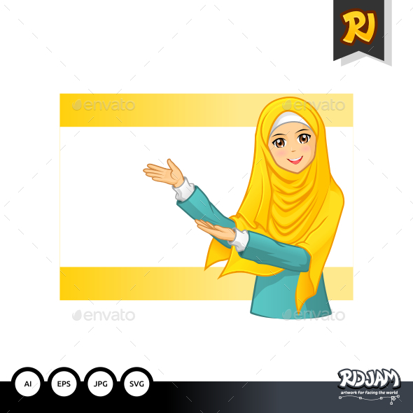 Muslim Woman with Invitation Arms Wearing Yellow Veil - People Characters