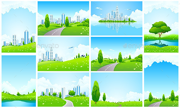 Amazing Green Landscape Backgrounds Set - Landscapes Nature