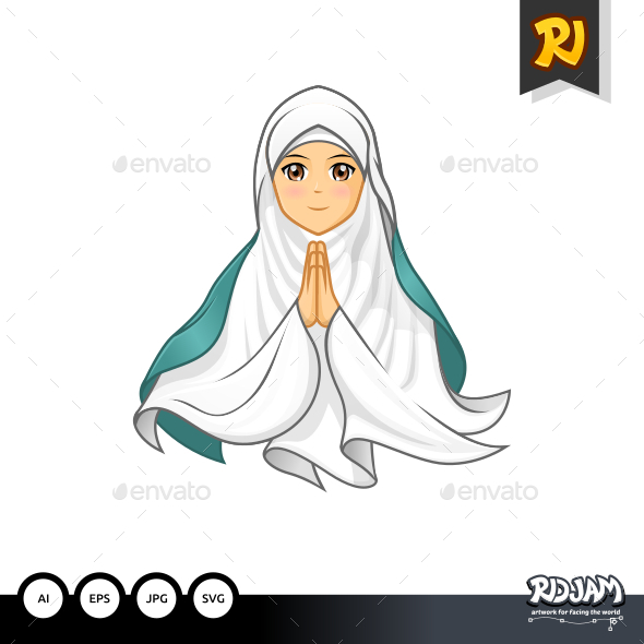 Muslim Woman with Welcoming Arms Wearing White Veil - People Characters
