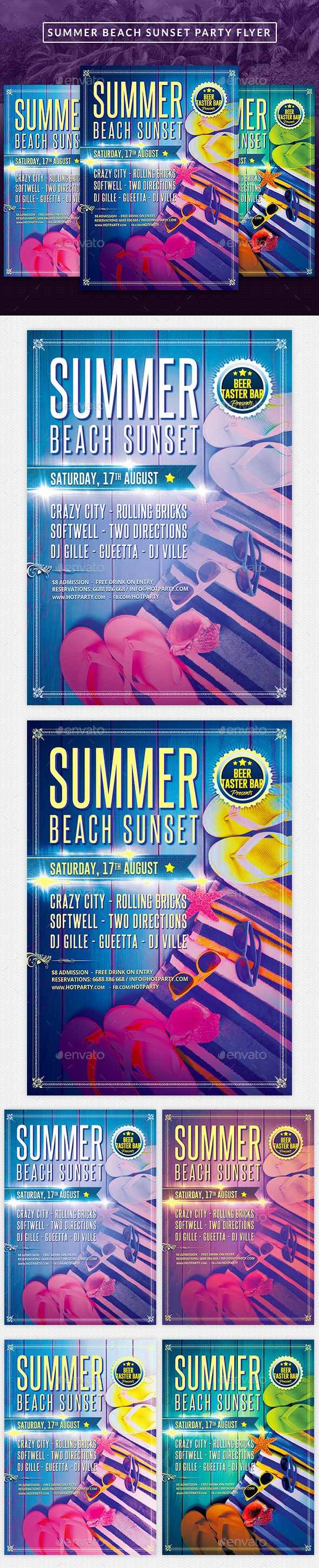 Summer Beach Sunset Party Flyer - Clubs & Parties Events