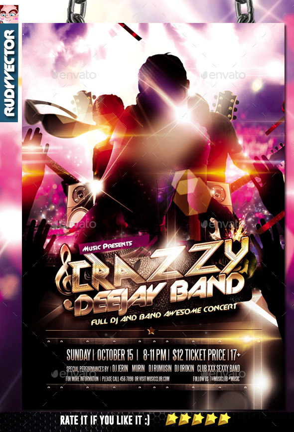 DJ and Band Music Concert Flyer - Concerts Events