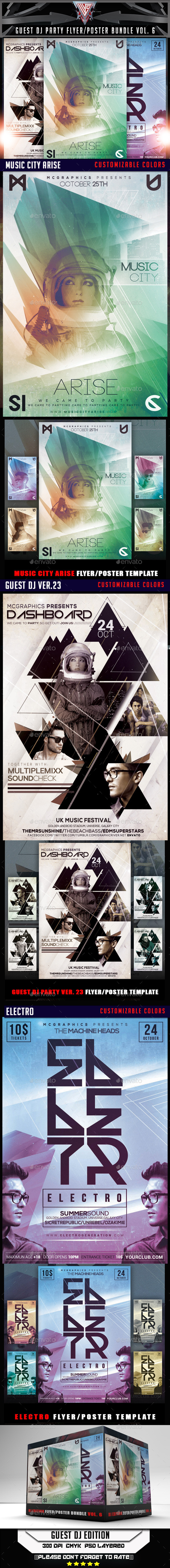 Guest DJ Party Flyer/Poster Bundle Vol.6 - Flyers Print Templates
