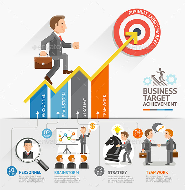 Business Growth Arrow Strategies Concept.  - Concepts Business