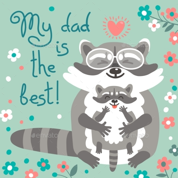 Card With Cute Raccoons To Fathers Day. - Seasons/Holidays Conceptual
