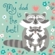 Card With Cute Raccoons To Fathers Day. - GraphicRiver Item for Sale
