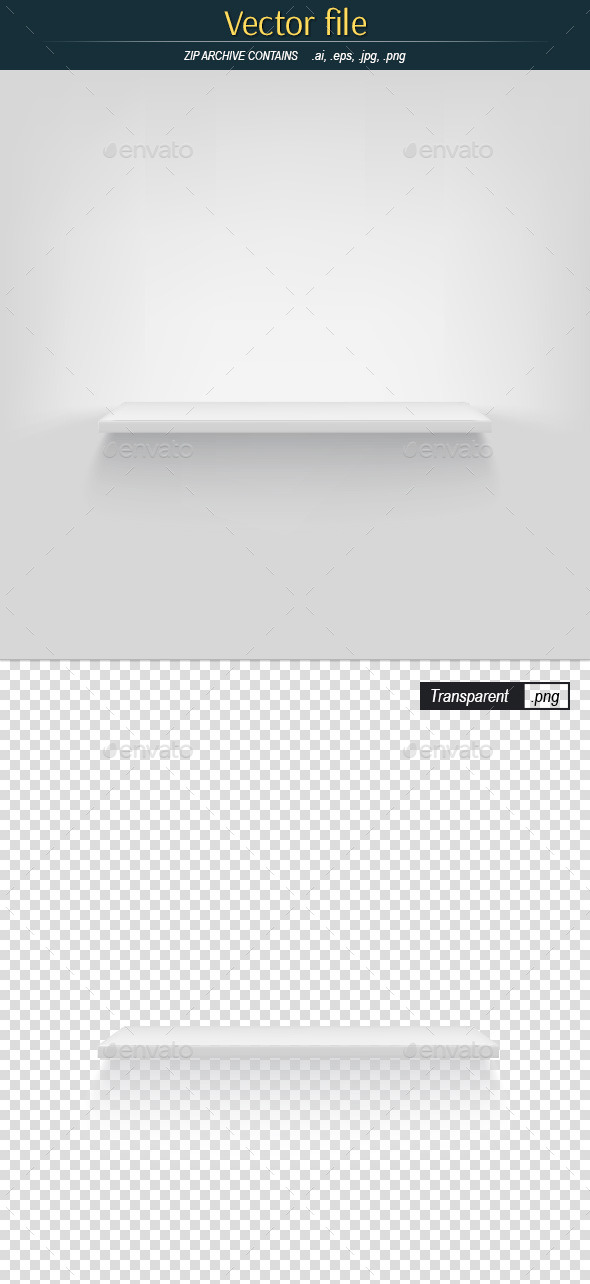 Shelf on White Background Vector Object - Backgrounds Decorative