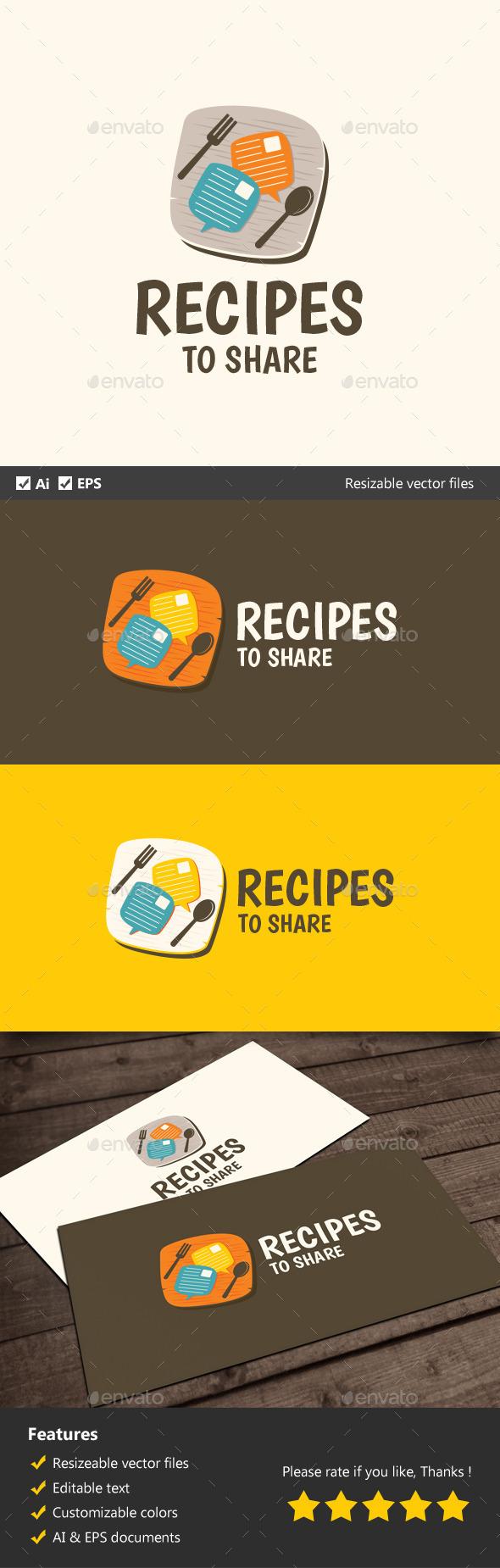 Recipes to Share - Food Logo Templates