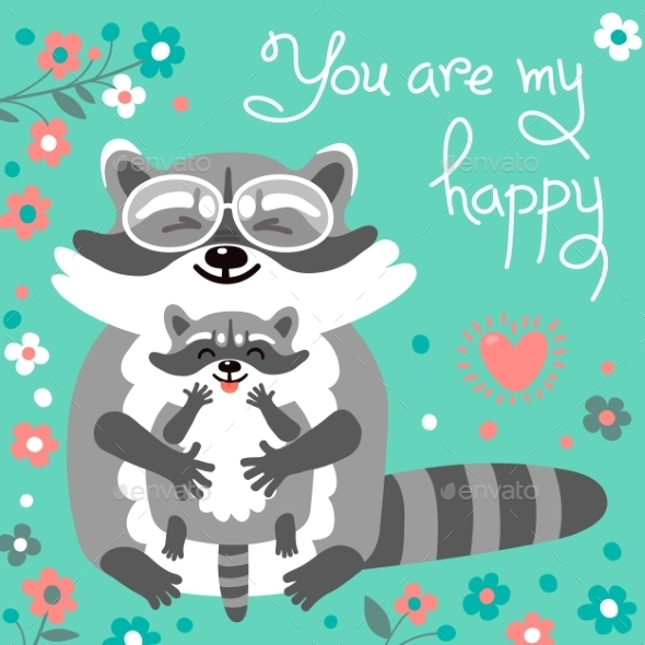 Card With Cute Raccoons And a Declaration Of Love. - Seasons/Holidays Conceptual
