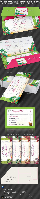 Wedding Hawaiian Boarding Pass Invitation Template - Weddings Cards & Invites