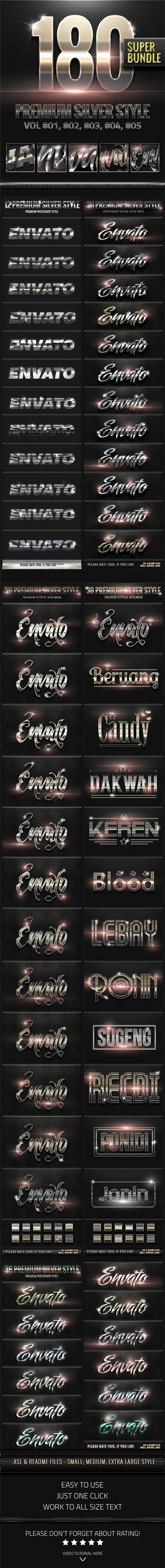 180 Metallic Silver Style Super Bundle - Text Effects Styles