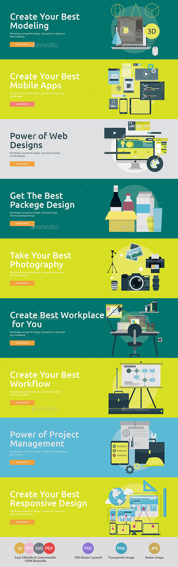 Flat Concept Banners for Design 3 - Technology Conceptual