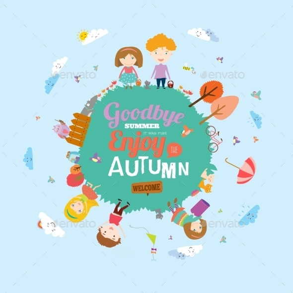Autumn Illustration With Happy Kids - Travel Conceptual