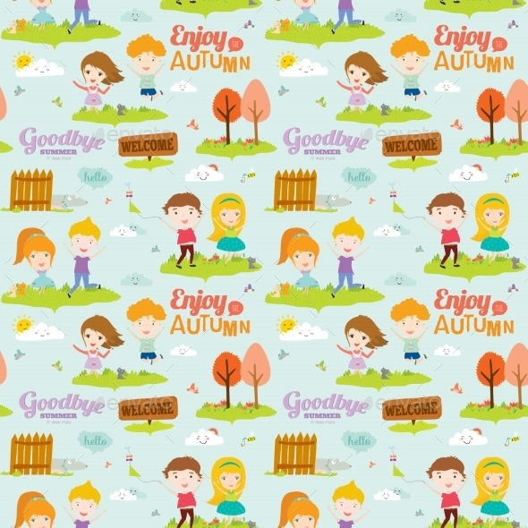 Autumn Pattern With Happy Smiling Kids - Seasons Nature