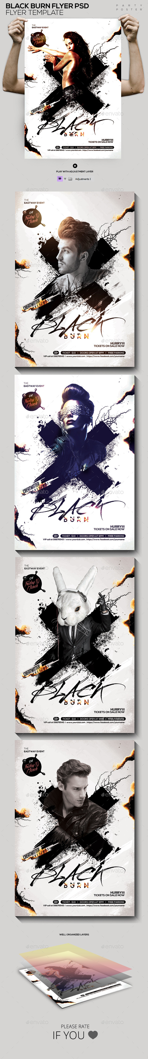 Black Burn Flyer/ Poster Template PSD - Clubs & Parties Events